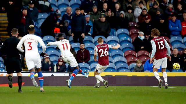 Wilfried Zaha opened the scoring for Crystal Palace at Burnley (Martin Rickett/PA)