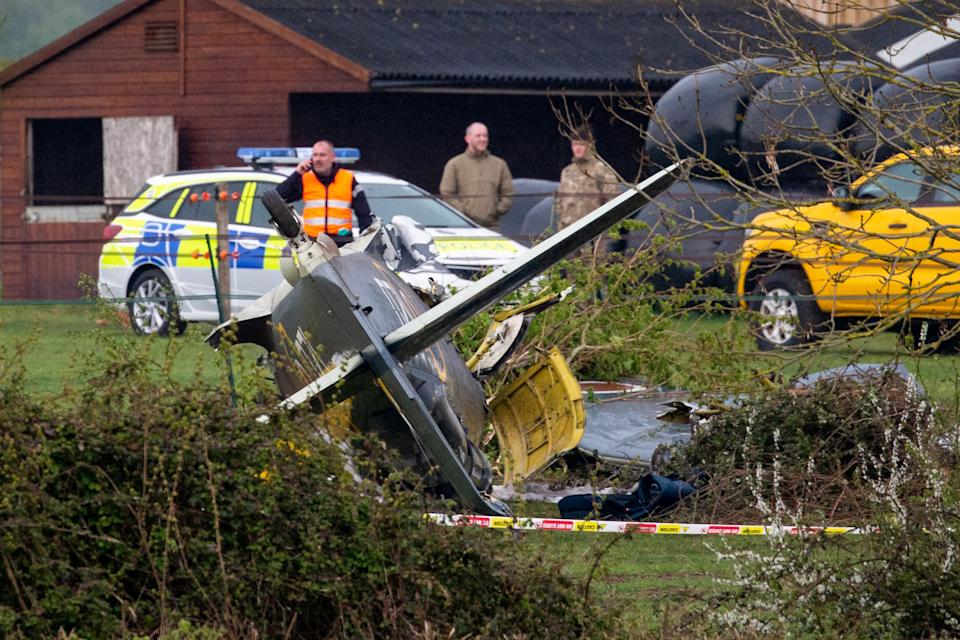 The scene in Limington, Somerset where a plane has crashed in to a field. 28 April 2021.  See SWNS story SWBRplane.  Emergency services have rushed to a field after a heritage WW2 plane crashed.  At least two police vehicles, two ambulances and two fire engines have been called to Limington, Somerset, this afternoon (April 28).  Pictures from the scene show a Hawker Sea Fury aircraft's propeller separated from the wreckage in a field near Church Street.  The crash site is within a mile of Royal Naval Air Station Yeovilton, on Heathcote Road.   The Navy Wings charity, which flies historic warbirds, has posted on its Facebook page: