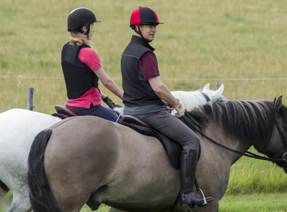 WINDSOR, ENGLAND - JUNE 20: Lady Louise Windsor spotted enjoying an early morning horse ride with her father, Prince Edward, Earl of Wessex, for the first time since lockdown began in March,  on June 20, 2020 in Windsor, England.  The 16-year-old joined her father, 56, on a canter around the grounds of Windsor Castle today enjoying the fresh air and exercise. (Photo by Antony Jones/Getty Images)