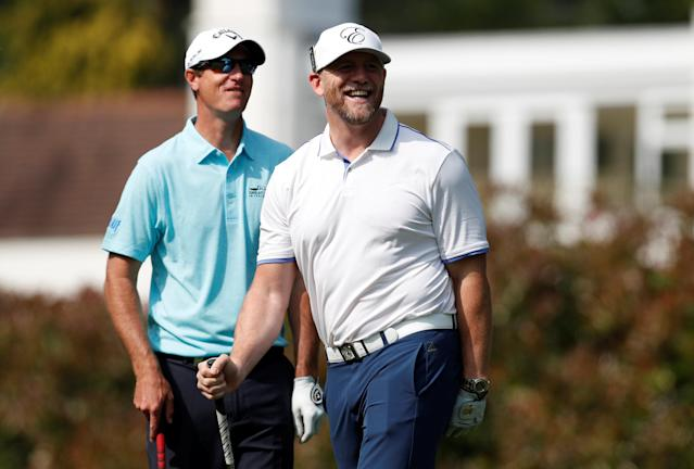 Golf - European Tour - BMW PGA Championship - Wentworth Club, Virginia Water, Britain - May 23, 2018 Mike Tindall with Belgium's Nicolas Colsaerts during the Pro-AM Action Images via Reuters/Paul Childs