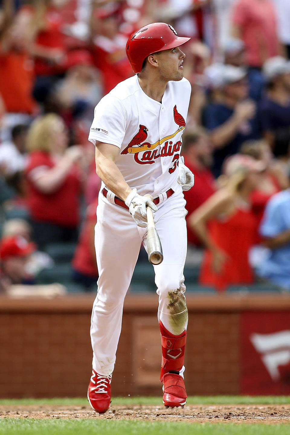 St. Louis Cardinals' Lane Thomas watches his grand slam as he runs the bases during the seventh inning of a baseball game against the Pittsburgh Pirates, Sunday, Aug. 11, 2019, in St. Louis. (AP Photo/Scott Kane)
