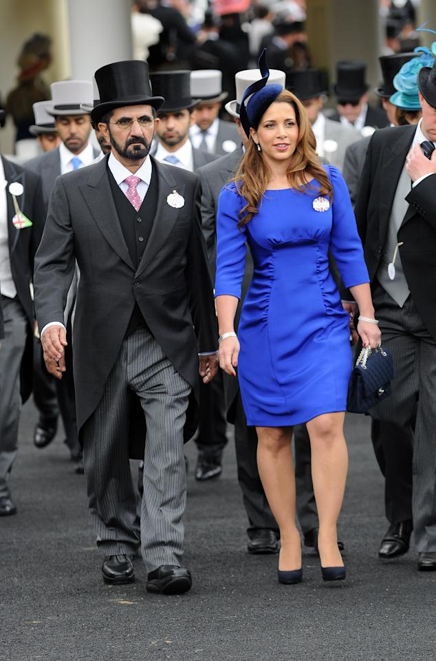 ASCOT, UNITED KINGDOM - JUNE 20: Princess Haya Bint Al Hussein and Sheikh Mohammed bin Rashid Al Maktoum attend day two of Royal Ascot at Ascot Racecourse on June 20, 2012 in Ascot, England. (Photo by Eamonn McCormack/Getty Images)