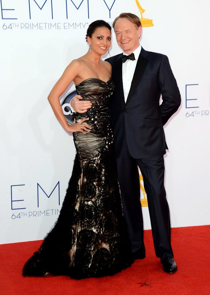 Jared Harris and Allegra Riggio at the 64th Primetime Emmy Awards at the Nokia Theatre in Los Angeles on September 23, 2012.