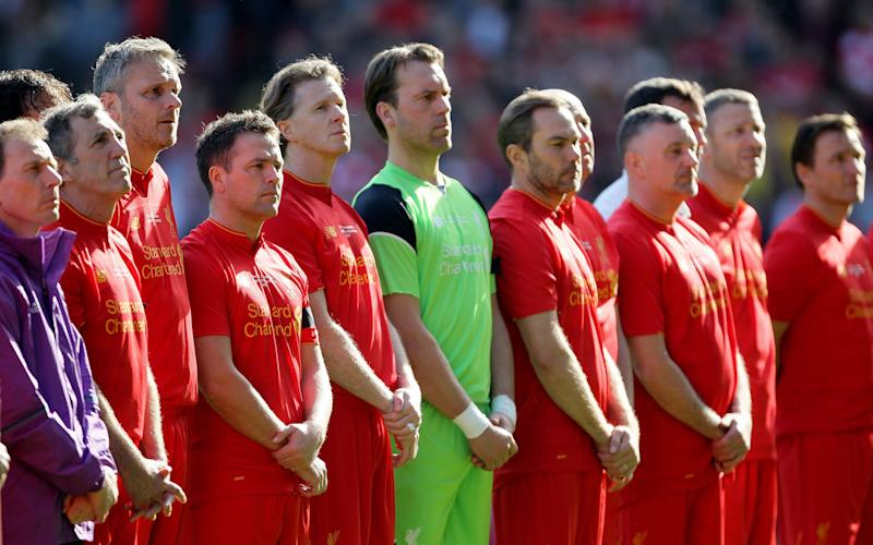Liverpool players remember Ronnie Moran during the charity match at Anfield, Liverpool - Credit: PA