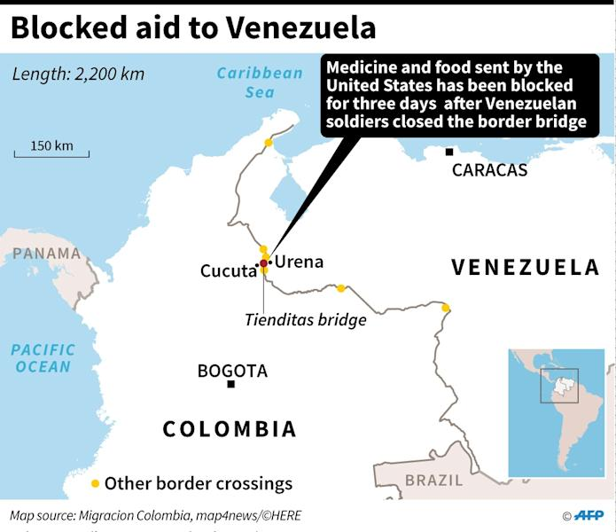 Map showing the border bridge with Colombia blocked by Venezuelan soldiers. (AFP Photo/Nicolas RAMALLO)