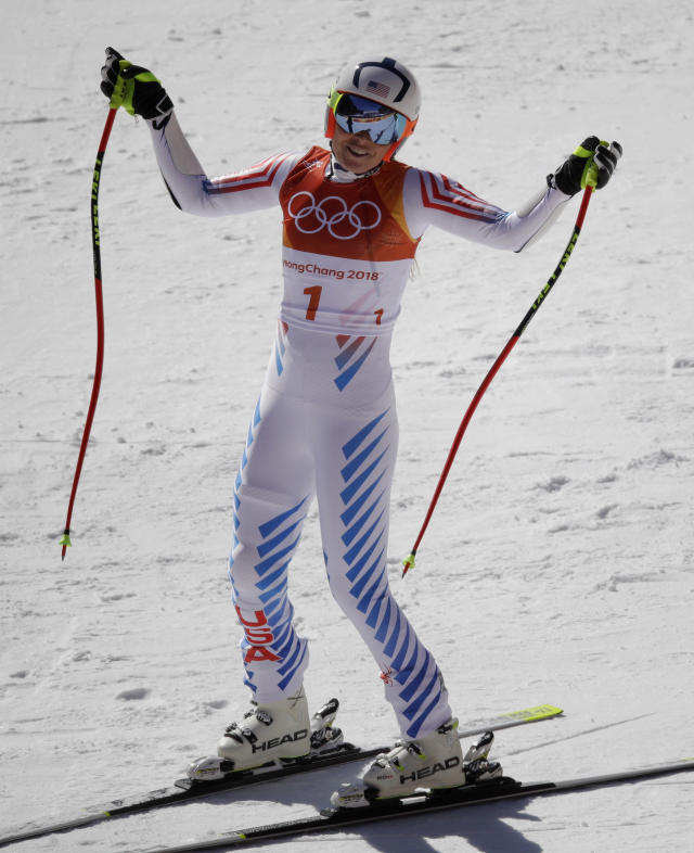 <p>United States' Lindsey Vonn reacts after her finish in the women's super-G at the 2018 Winter Olympics in Jeongseon, South Korea, Saturday, Feb. 17, 2018. (AP Photo/Charlie Riedel) </p>