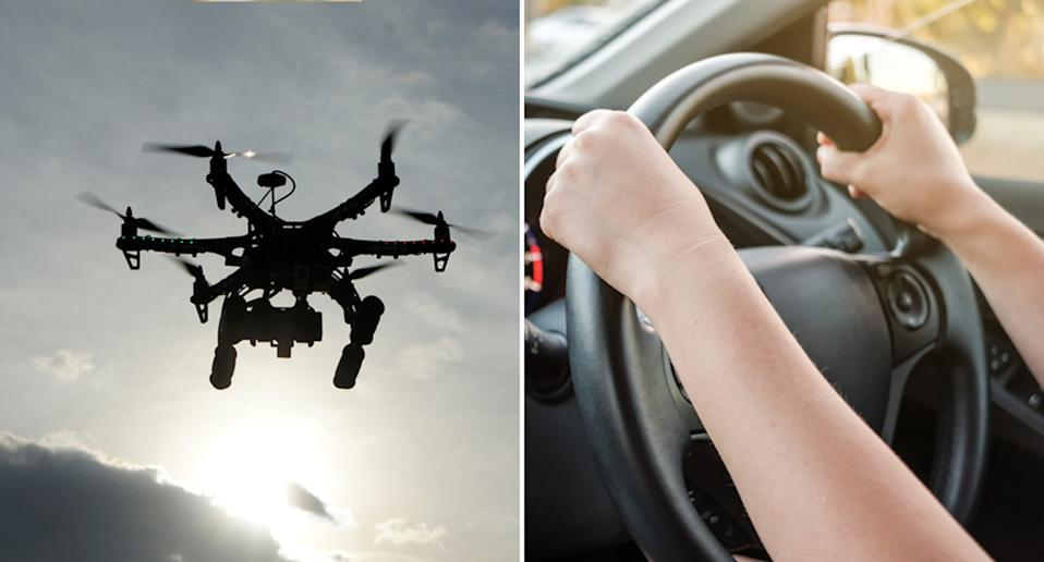 A drone is pictured alongside hands on a steering wheel.
