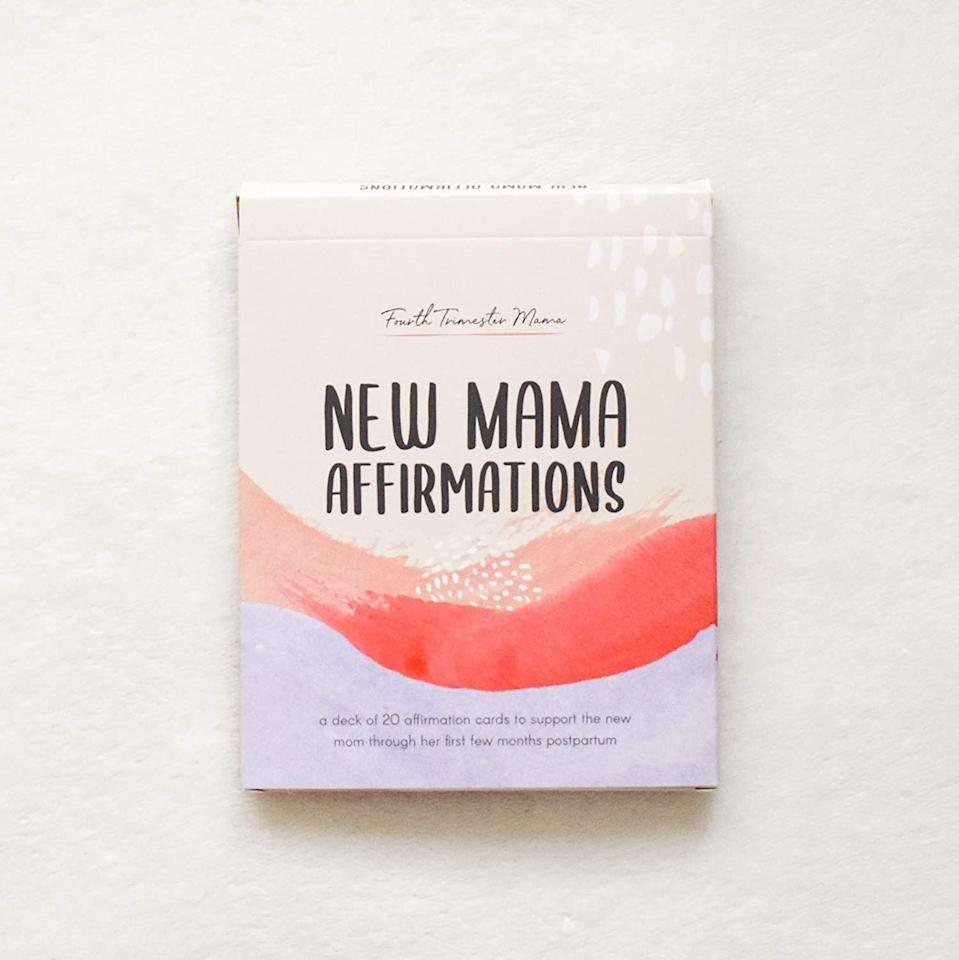 """<p><strong>Fourth Trimester Mama</strong></p><p>amazon.com</p><p><strong>$17.95</strong></p><p><a href=""""https://www.amazon.com/dp/B0893K9HV5?tag=syn-yahoo-20&ascsubtag=%5Bartid%7C10070.g.26944695%5Bsrc%7Cyahoo-us"""" rel=""""nofollow noopener"""" target=""""_blank"""" data-ylk=""""slk:SHOP NOW"""" class=""""link rapid-noclick-resp"""">SHOP NOW</a></p><p>This deck of 20 cards offers 40 uplifting affirmations about new motherhood to help empower women and foster a positive postpartum experience. </p>"""
