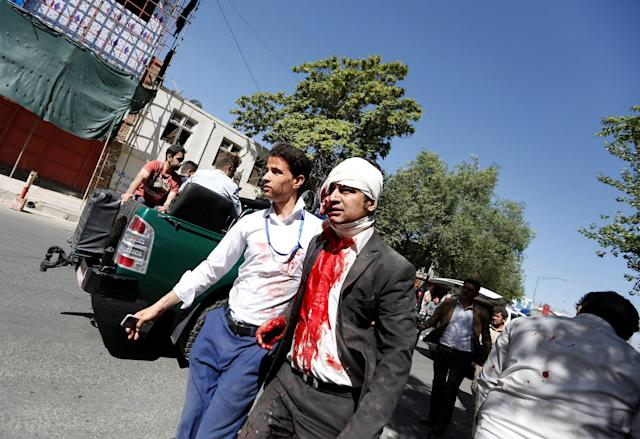 <p>An injured man arrives to a hospital after a blast in Kabul, Afghanistan May 31, 2017. (Mohammad Ismail/Reuters) </p>