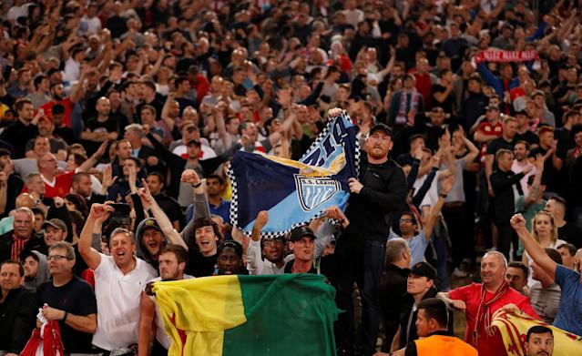 Soccer Football - Champions League Semi Final Second Leg - AS Roma v Liverpool - Stadio Olimpico, Rome, Italy - May 2, 2018 Liverpool fans celebrate after the match Action Images via Reuters/John Sibley