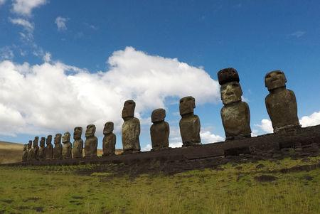 """Statues named """"Moai"""" are seen on a hill at the Easter Island, Chile  January 31, 2019.  REUTERS/Jorge Vega"""