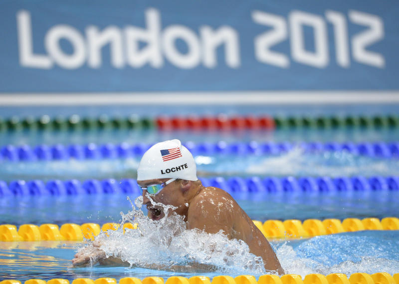USA's Ryan Lochte competes in a heat of the men's 400-meter individual medley at the Aquatics Centre in the Olympic Park during the 2012 Summer Olympics in London, Saturday, July 28, 2012. (AP Photo/Mark J. Terrill)
