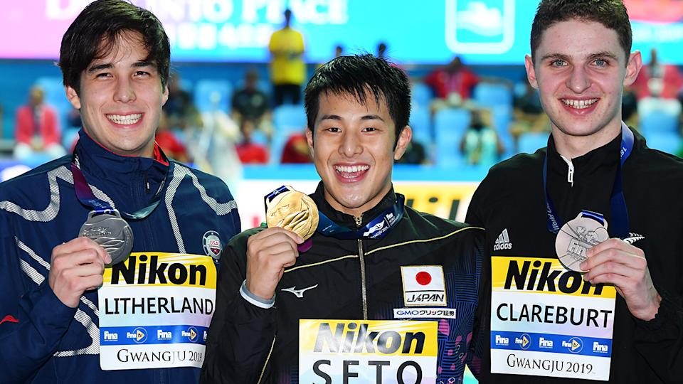 Daiya Seto, pictured here after winning gold at the 2019 FINA world championships.
