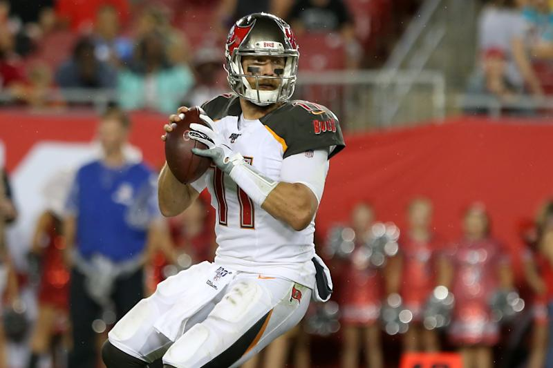 Quarterback Blaine Gabbert (11) will return to the Buccaneers on a one-year deal. (Photo by Cliff Welch/Icon Sportswire via Getty Images)