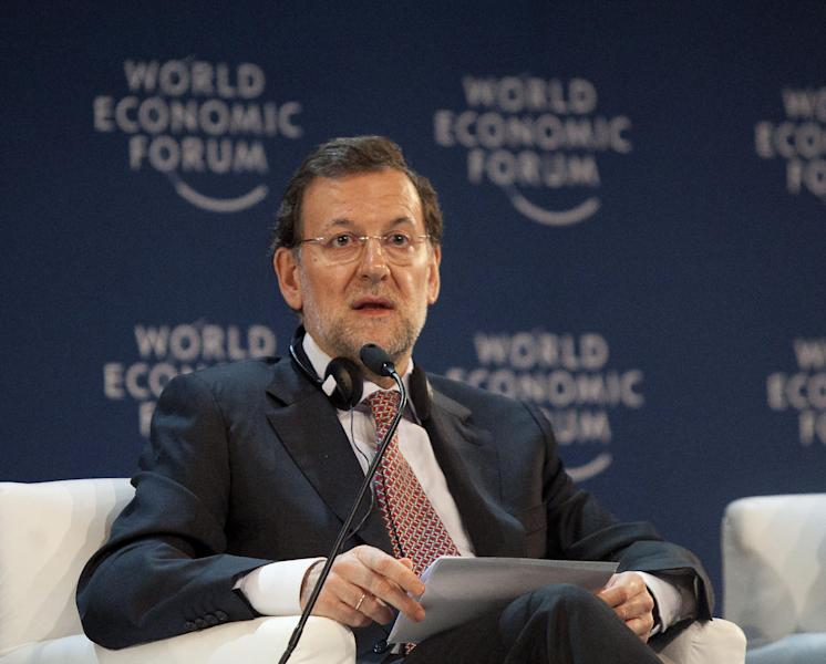 Spain's Prime Minister Mariano Rajoy speaks at the opening ceremony of the World Economic Forum (WEF) Latin America in Puerto Vallarta, Mexico, Tuesday April 17, 2012. Rajoy said Tuesday that Argentina's nationalization of its Spanish-controlled leading energy company is unjustifiable and he'll work to halt the takeover. (AP Photo/Bernardo De Niz)