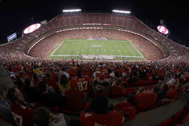 FILE - In this Aug. 24, 2019, file photo, the Kansas City Chiefs and the San Francisco 49ers play during the second half of an NFL preseason football game at Arrowhead Stadium in Kansas City, Mo. The Chiefs will open defense of their Super Bowl championship by hosting Houston on Sept. 10 in the NFL's annual kickoff game pending developments in the coronavirus pandemic, of course. (AP Photo/Charlie Riedel, File)