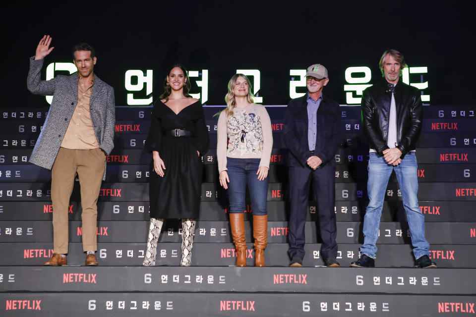 SEOUL, SOUTH KOREA - DECEMBER 02: (LR) Ryan Reynolds, Adria Arjona, Mélanie Laurent, Ian Bryce and Michael Bay attend the press conference for the world premiere of Netflix's '6 Underground' at Four Seasons Hotel on December 02, 2019 in Seoul, South Korea. (Photo by Woohae Cho/Getty Images for Netflix)