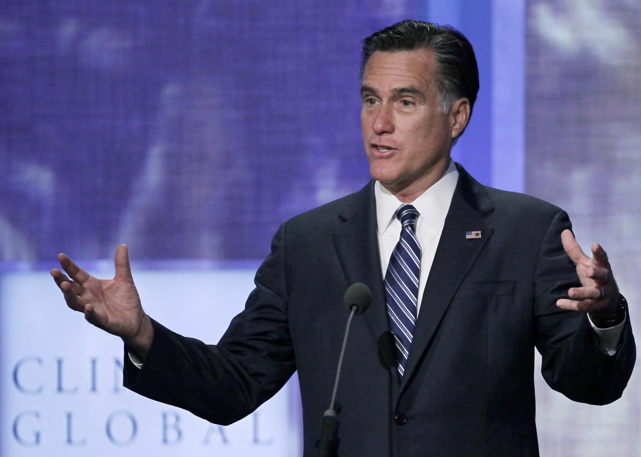 Republican presidential candidate, former Massachusetts Gov. Mitt Romney speaks at the Clinton Global Initiative, Tuesday, Sept. 25, 2012, in New York. (AP Photo/Mark Lennihan)