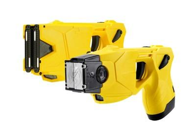 TASER(R) X2(TM) (top) and TASER X26P(TM)(below) Smart Weapons. The use of TASER weapons has saved more than 200,000 lives from potential death or serious injury. Photo courtesy of Axon, Scottsdale, AZ.