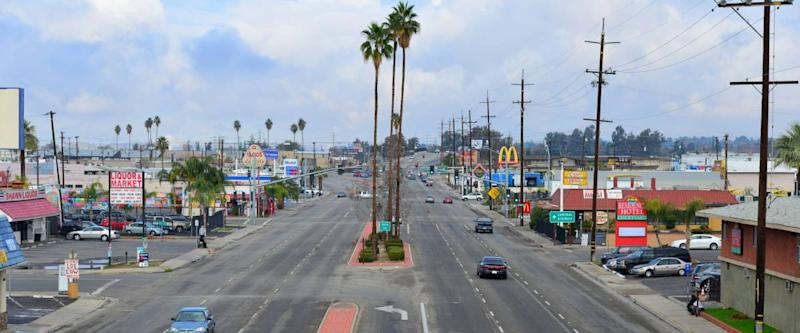 BAKERSFIELD, CA - DECEMBER 13, 2014: Traffic is light on a Saturday morning on Union Avenue, looking north from the Truxtun Avenue overpass.