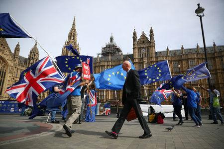 FILE PHOTO: Anti-Brexit demonstrators wave flags outside the Houses of Parliament, in London