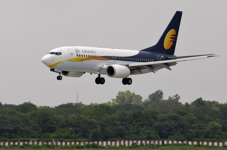 Jet Airways passenger aircraft prepares to land at the airport in the western Indian city of Ahmedabad