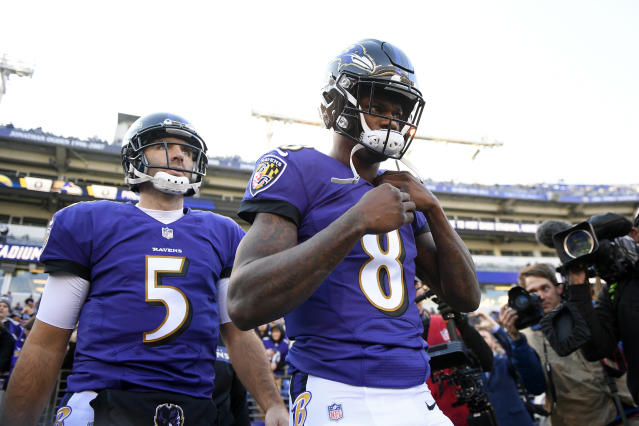 Joe Flacco, left, has likely played his last game with the Baltimore Ravens after 11 seasons. On Sunday, coach John Harbaugh called Lamar Jackson, right, the team's quarterback going forward. (AP)
