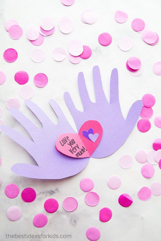 """<p>To make this handprint Valentine card, fold paper before tracing a handprint along the crease. Cut around the print and open to fill with your own special greeting.</p><p><a href=""""https://www.thebestideasforkids.com/handprint-valentine/"""" rel=""""nofollow noopener"""" target=""""_blank"""" data-ylk=""""slk:Get the tutorial at The Best Ideas for Kids »"""" class=""""link rapid-noclick-resp""""><em>Get the tutorial at The Best Ideas for Kids </em><em>»</em></a></p>"""