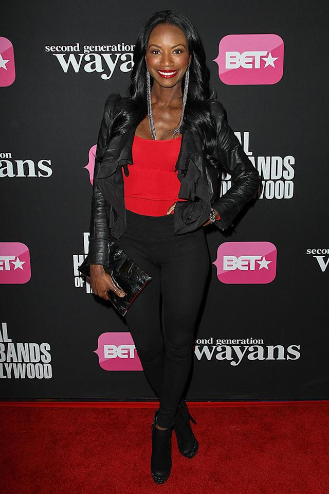 "Taja V. Simpson arrives at the screenings of BET Networks' ""Real Husbands of Hollywood"" and ""Second Generation Wayans"" held at the Regal Cinemas L.A. Live on January 8, 2013 in Los Angeles, California."