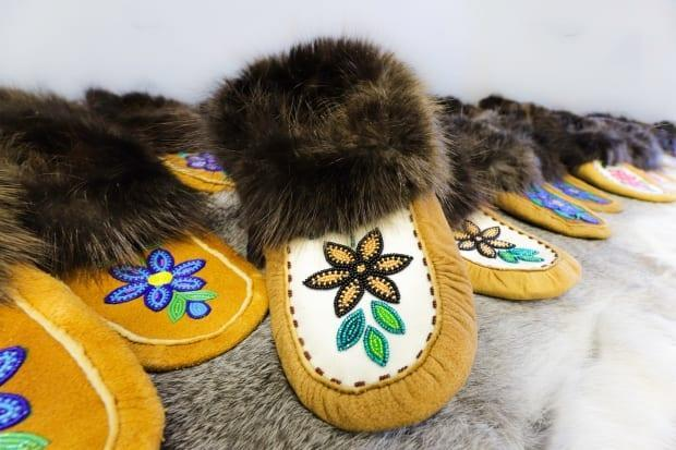 Talented seamstresses in the Sahtu made moccasins for all the elders at the long-term care home with grant money they accessed during the early stages of the pandemic. (NickyLynn Photography - image credit)