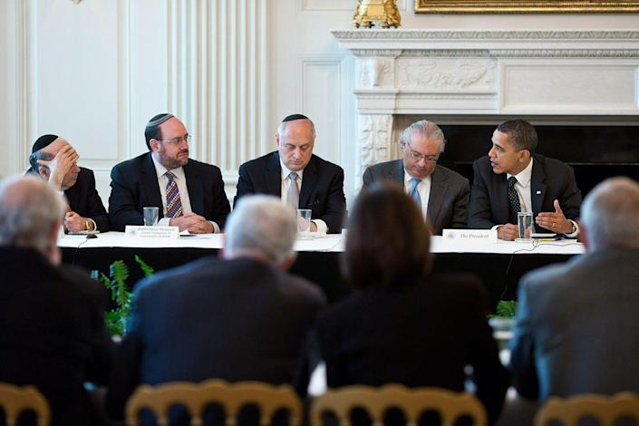 "<span class=""caption"">President Barack Obama, right, meeting with leaders of large Jewish organizations in 2011.</span> <span class=""attribution""><a class=""link rapid-noclick-resp"" href=""https://commons.wikimedia.org/wiki/File:Obama_and_Conference_of_Presidents_of_Major_American_Jewish_Organizations.jpg"" rel=""nofollow noopener"" target=""_blank"" data-ylk=""slk:Pete Souza"">Pete Souza</a></span>"