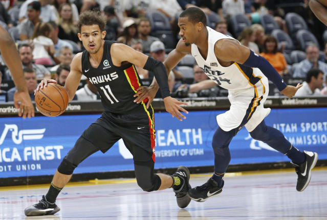 Atlanta Hawks guard Trae Young turns in double-double against New York Knicks in Las Vegas at the NBA Summer League. (AP Photo)