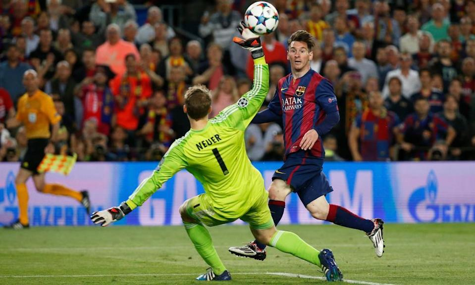 Lionel Messi scores as Barcelona see off Guardiola's Bayern Munich in 2015.