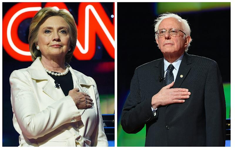 This two-picture combination shows US Democratic presidential candidates Hillary Clinton (L) and Bernie Sanders before the CNN Democratic Presidential Debate at the Brooklyn Navy Yard on April 14, 2016 in New York (AFP Photo/Jewel Samad)