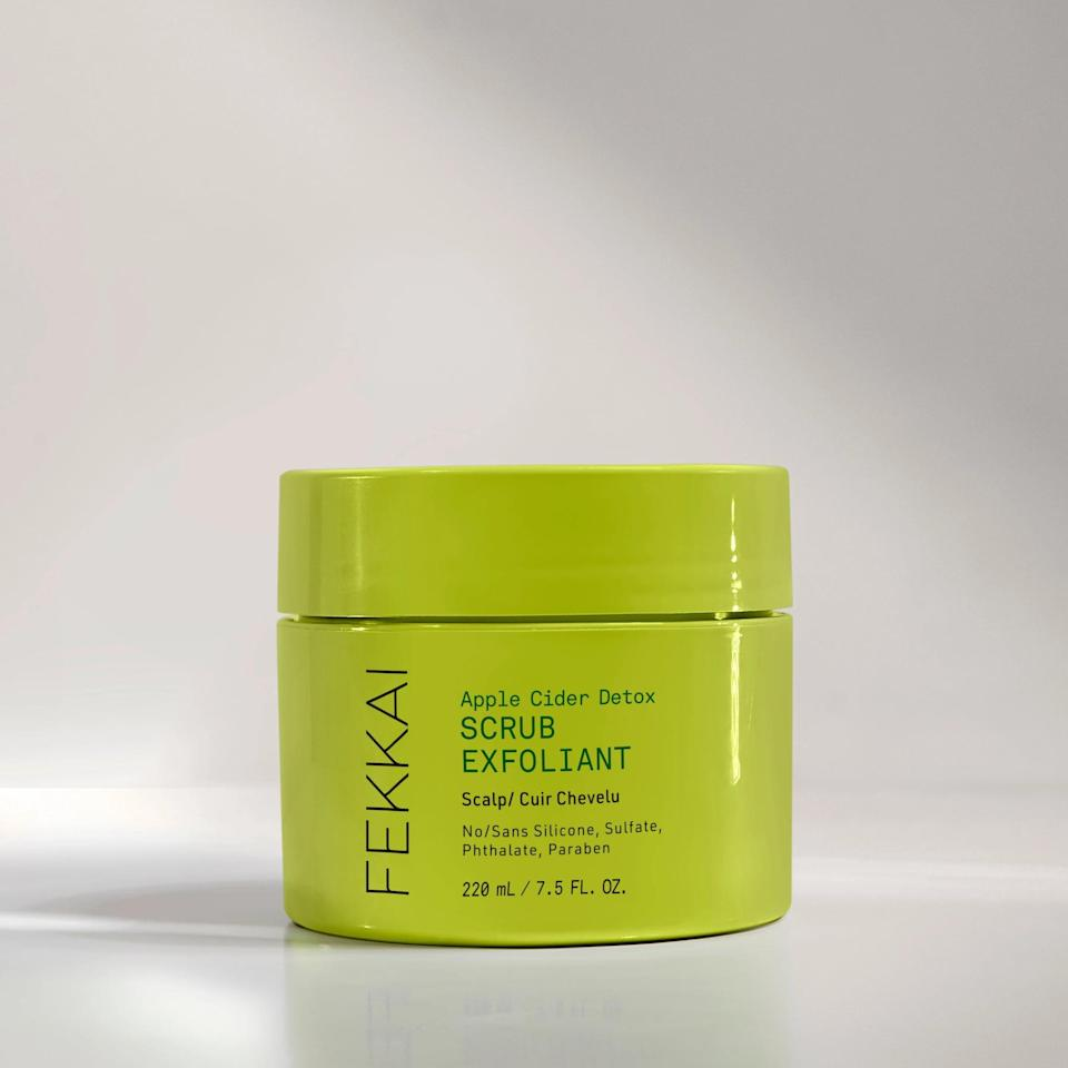 <p>With powerhouse ingredients like apple cider vinegar and ginger extract, the <span>Fekkai Apple Cider Detox Scrub</span> ($30) aims to remove build-up like dead skin and dry shampoo, balance out the scalp diminishing excess oil production, and provide scalp nourishment and stimulation for healthy hair growth. The pre-shampoo treatment has a thick and rich hair mask-like texture with physical exfoliants like rice powder and black currant powder. </p> <p>It's clean, vegan, cruelty-free, and safe for all hair types, including color-treated.</p>