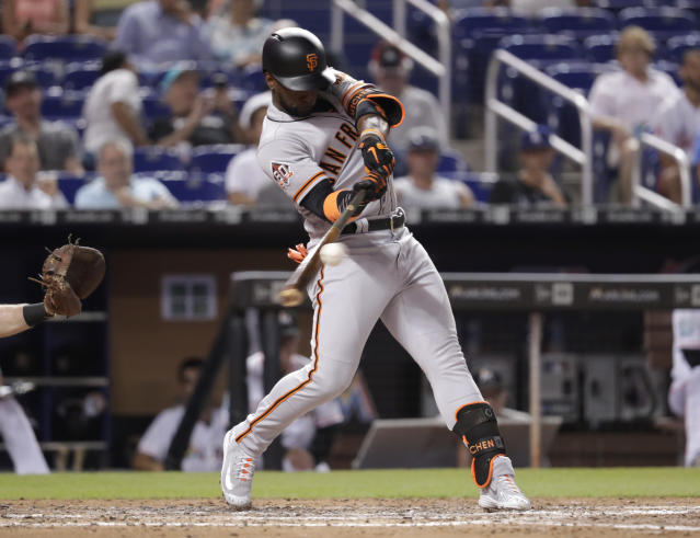 San Francisco Giants' Andrew McCutchen hits a single during the sixth inning of a baseball game against the Miami Marlins, Thursday, June 14, 2018, in Miami. (AP Photo/Lynne Sladky)