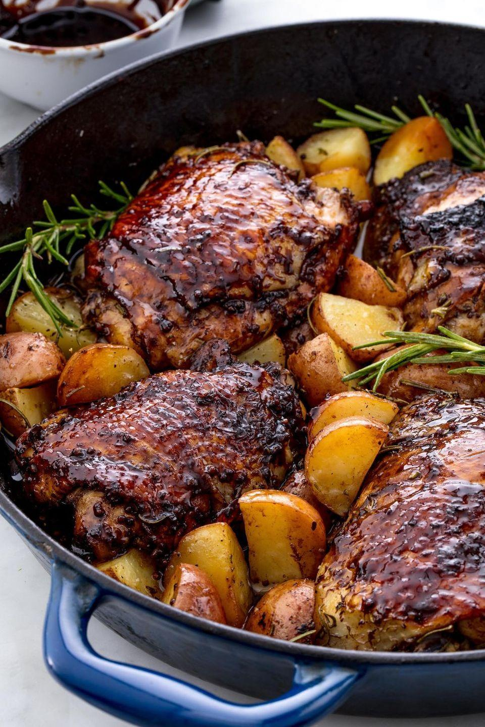 """<p>This sweet, tangy chicken is the perfect weeknight dinner. </p><p>Get the <a href=""""https://www.delish.com/uk/cooking/recipes/a29067681/balsamic-glazed-chicken/"""" rel=""""nofollow noopener"""" target=""""_blank"""" data-ylk=""""slk:Balsamic Glazed Chicken"""" class=""""link rapid-noclick-resp"""">Balsamic Glazed Chicken</a> recipe.</p>"""