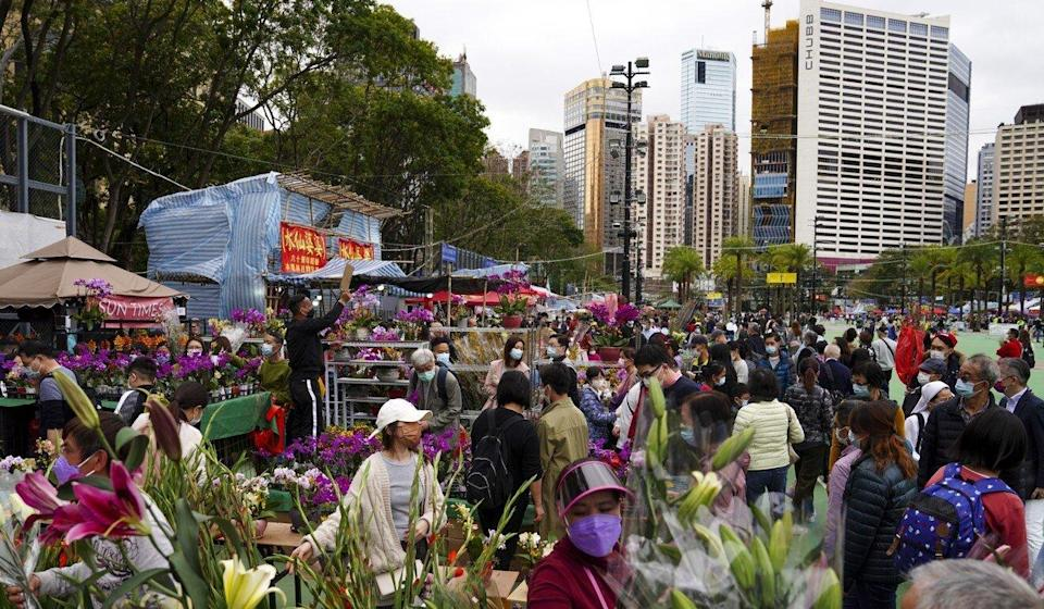 People at the Lunar New Year flower market at Victoria Park in Causeway Bay. Photo: Sam Tsang
