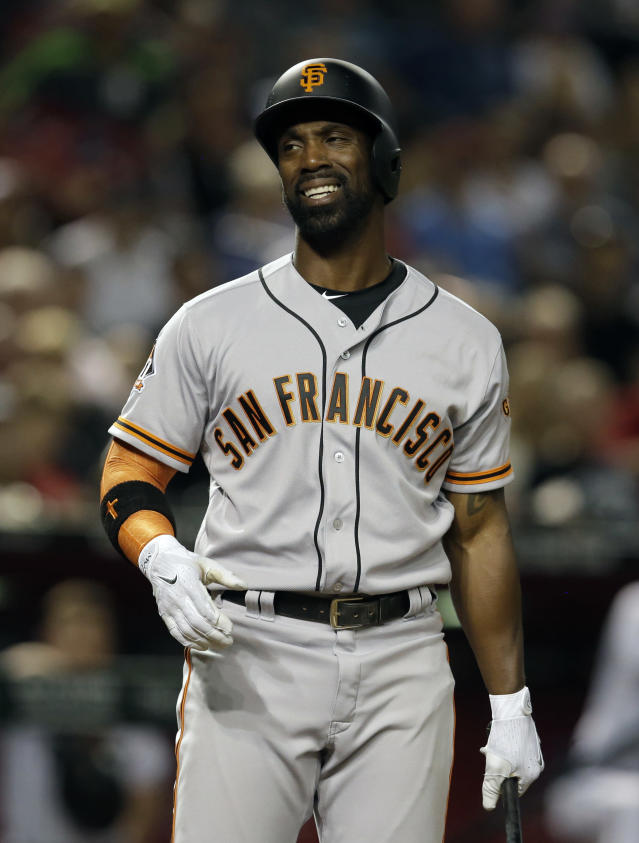 San Francisco Giants center fielder Andrew McCutchen reacts after striking out against the Arizona Diamondbacks in the seventh inning during a baseball game, Tuesday, April 17, 2018, in Phoenix. (AP Photo/Rick Scuteri)