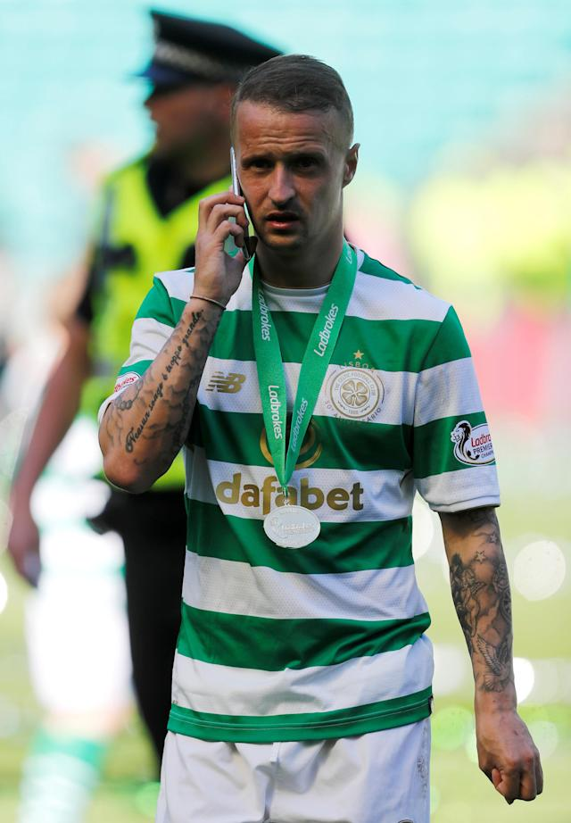 Soccer Football - Scottish Premiership - Celtic vs Aberdeen - Celtic Park, Glasgow, Britain - May 13, 2018 Celtic's Leigh Griffiths celebrates winning the Scottish Premiership after the match REUTERS/Russell Cheyne