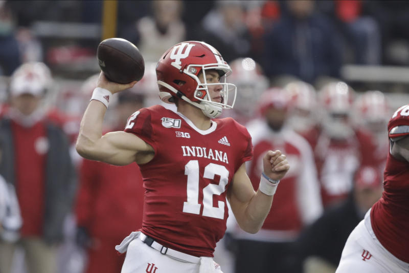 Indiana quarterback Peyton Ramsey (12) throws during the first half of an NCAA college football game against Michigan, Saturday, Nov. 23, 2019, in Bloomington, Ind. (AP Photo/Darron Cummings)