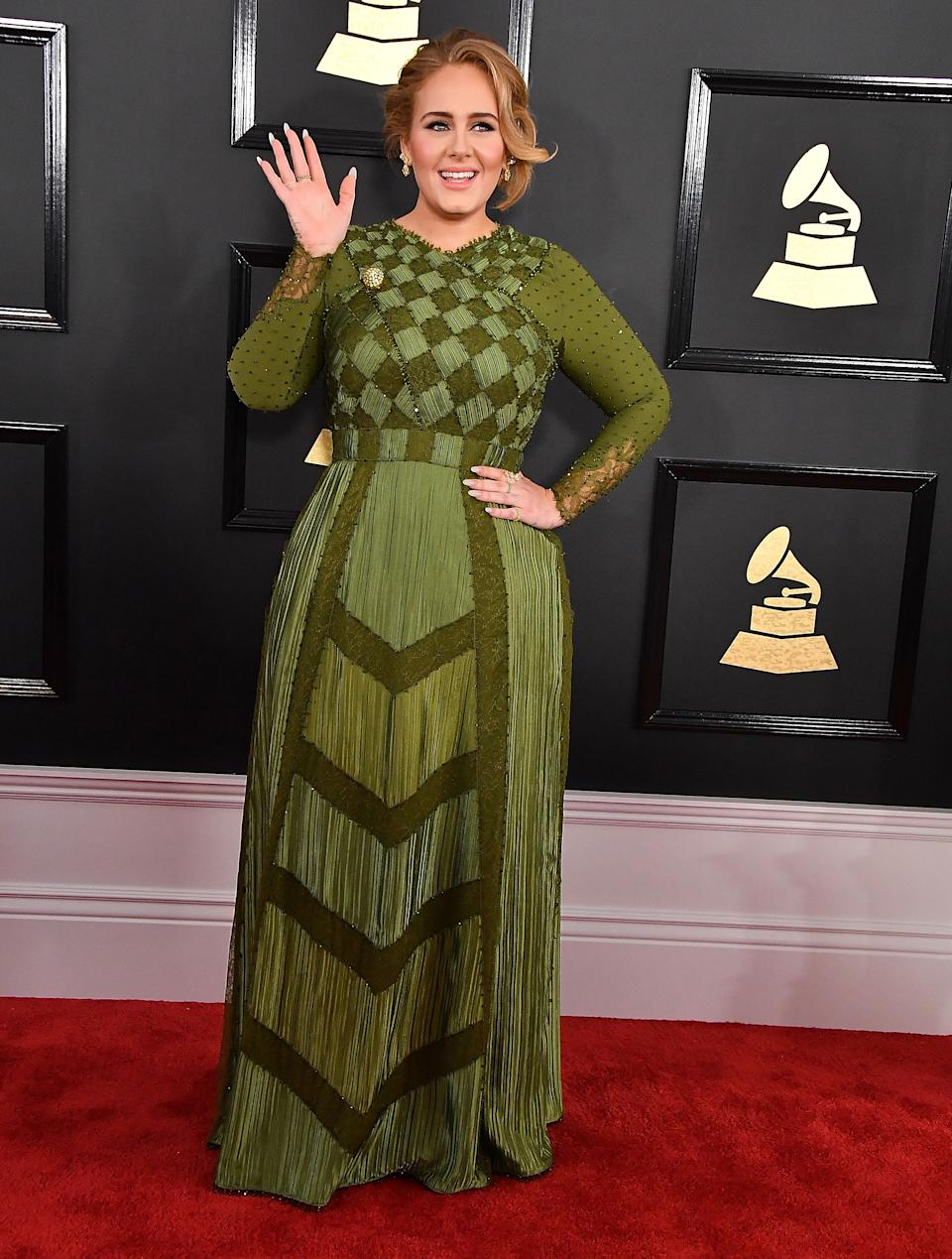 LOS ANGELES, CA - FEBRUARY 12:  Adele arrives at the 59th GRAMMY Awards on February 12, 2017 in Los Angeles, California.  (Photo by Steve Granitz/WireImage)