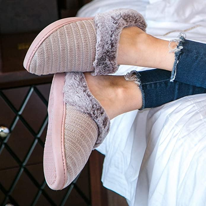 <p>Keep your feet warm and cozy with the <span>WFL Slippers for Women Memory Foam House Shoes</span> ($7, originally $12).</p>