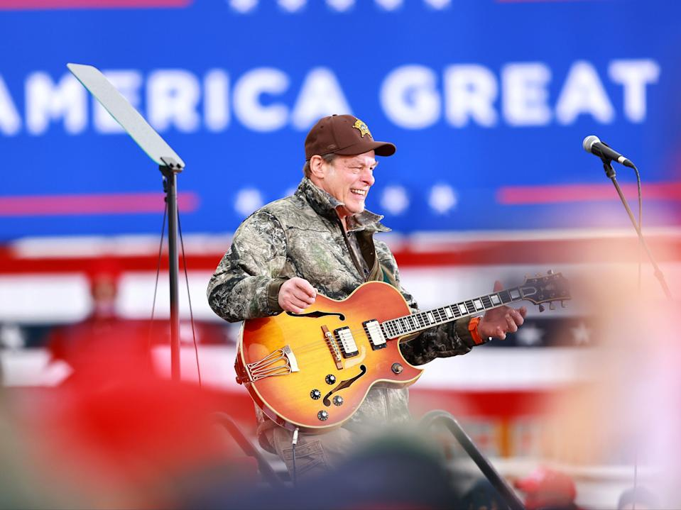 Nugent on stage at a Trump campaign rally in 2020 (Getty Images)
