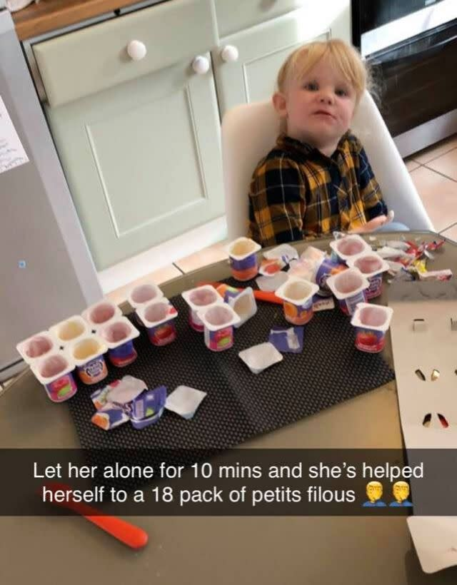 She acted very quickly when her dad left her unsupervised - and managed 18 yogurts in 10 minutes (Photo: Arron Whysall/Supplied)