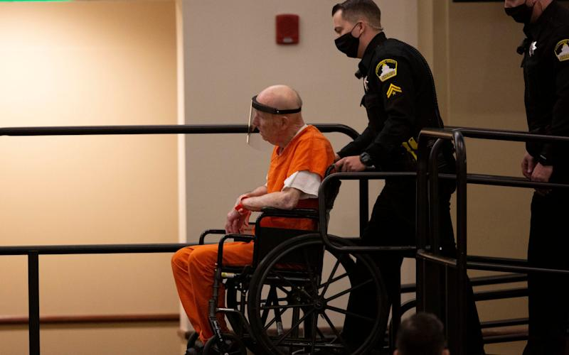 Joseph James DeAngelo was wheeled into the courtroom - AP
