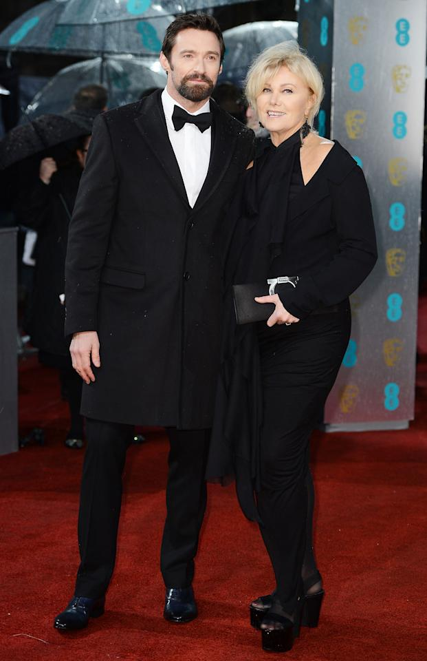 Hugh Jackman and Deborra-Lee Furness attend the EE British Academy Film Awards at The Royal Opera House on February 10, 2013 in London, England.  (Photo by Ian Gavan/Getty Images)