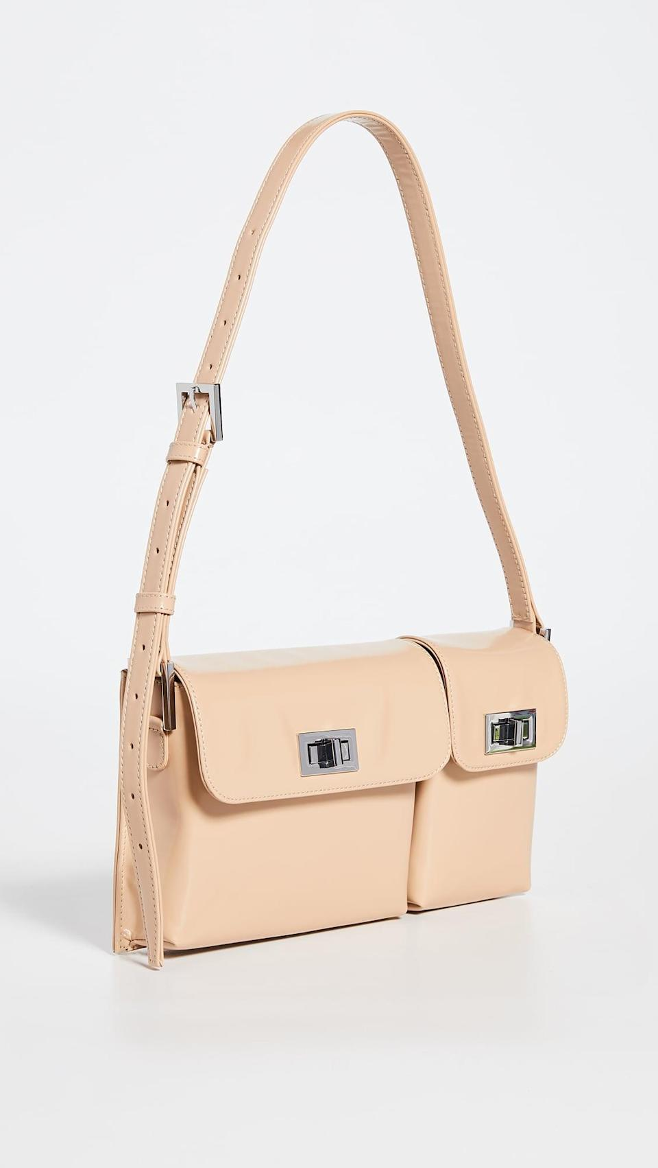 <p>This <span>By Far Billy Cream Semi Patent Leather Bag</span> ($538) features a cool design and separate pockets that are perfect for holding the necessities when running errands and beyond.</p>