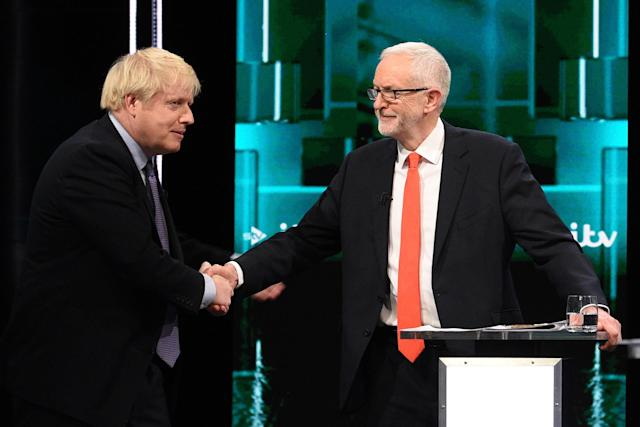 Boris Johnson and Jeremy Corbyn during the debate. (Jonathan Hordle//ITV via Getty Images)