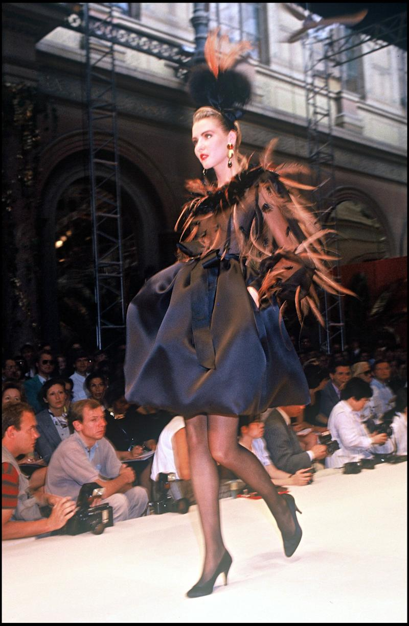 A feathered design from the house's fall/winter 1991-1992 couture show in Paris.